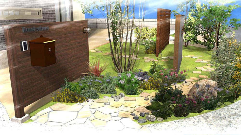 たっぷり植木と目隠し塀のボリュームのあるお庭