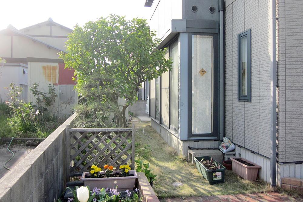 建物とうまく調和した優しい目隠し、リクシル『プラスG』のあるお庭